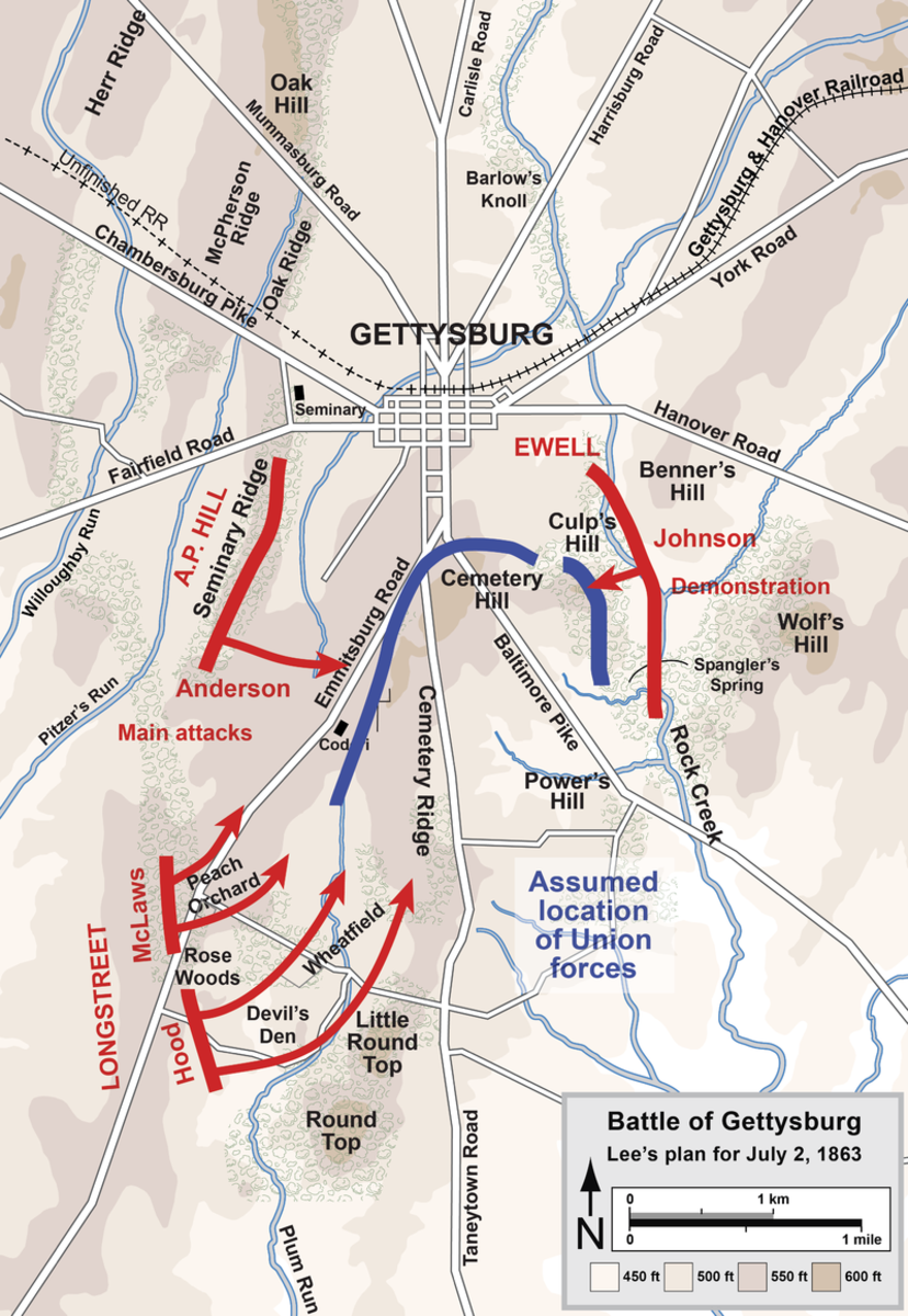 Longstreet's planed attack on the Union center and left flank afternoon of July 2,1863.