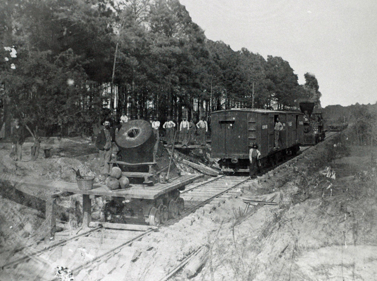 """Dictator"" siege mortar on the U.S. Military Railroad at Petersburg Spring 1865."