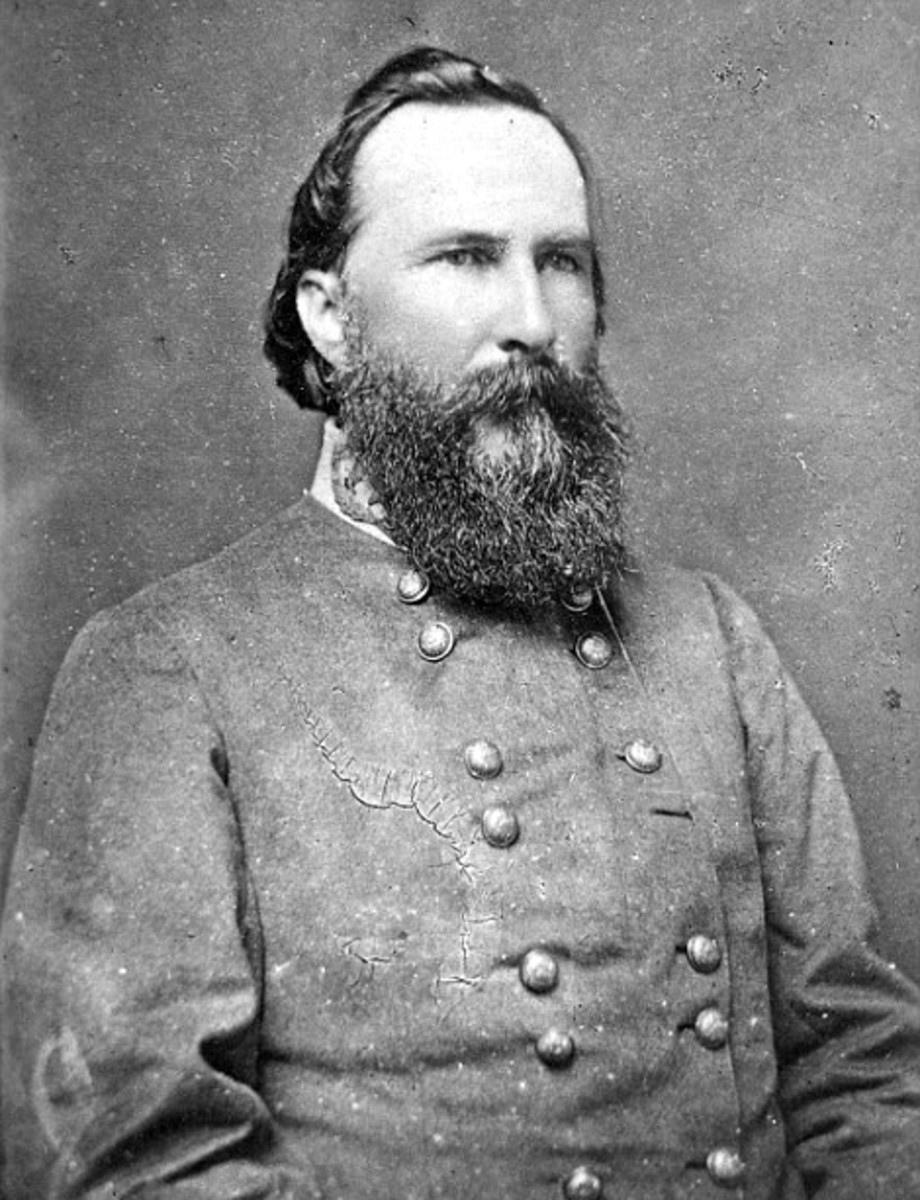 Confederate General James Longstreet overall commander of the southern troops on the Union left flank near Little Round Top.