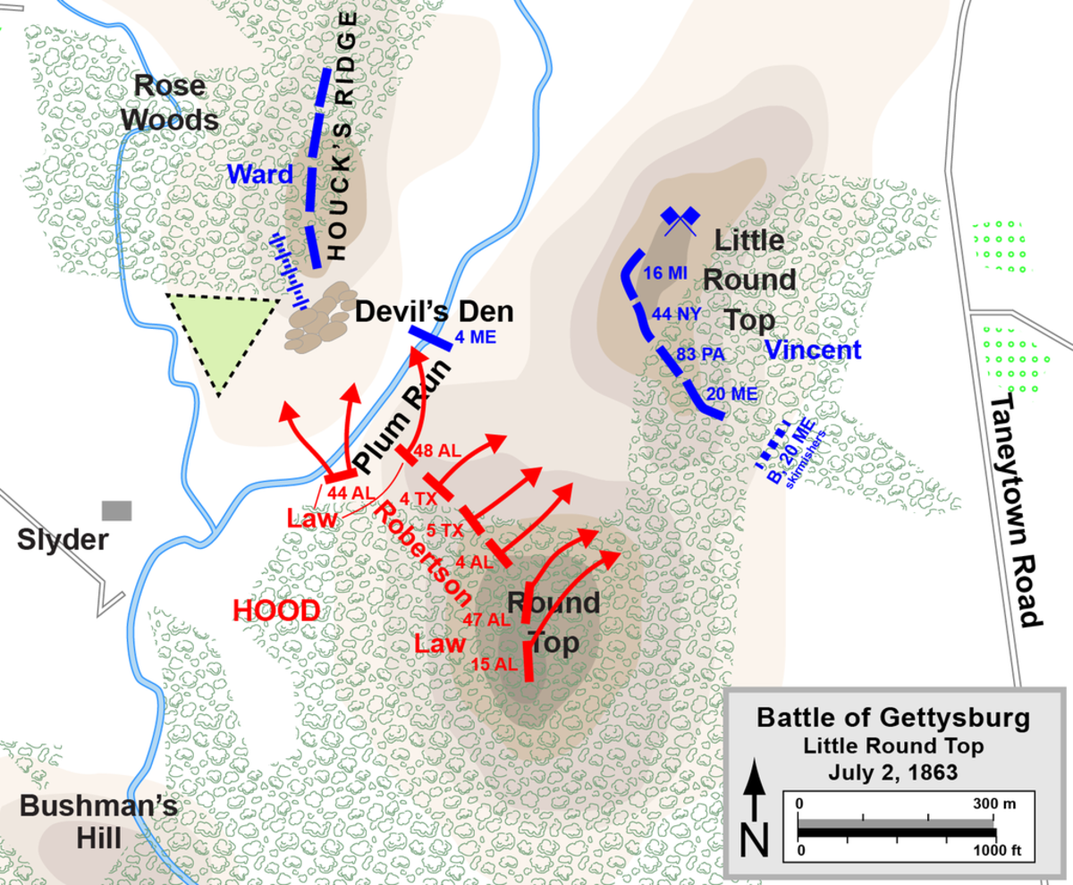 Battle Map of the Battle for Little Round Top July 2,1863.