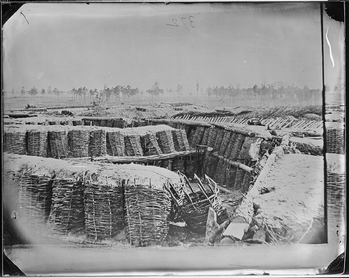 Union trenches outside Petersburg Virginia 1865.