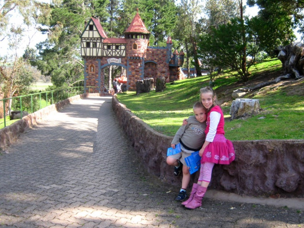 The entrance to Camelot Playground, where the kids can be kept busy for HOURS!