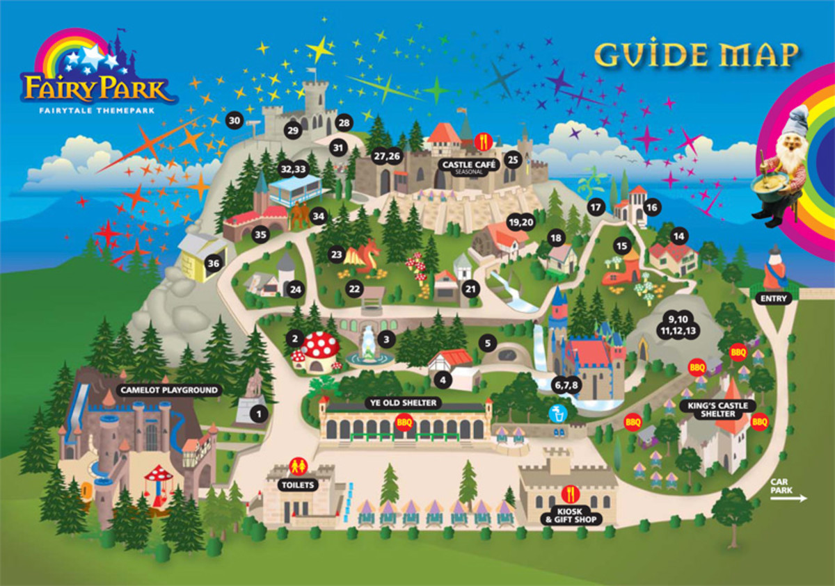 A map showing the highlights of Fairy Park Anakie. Click on the map to enlarge.