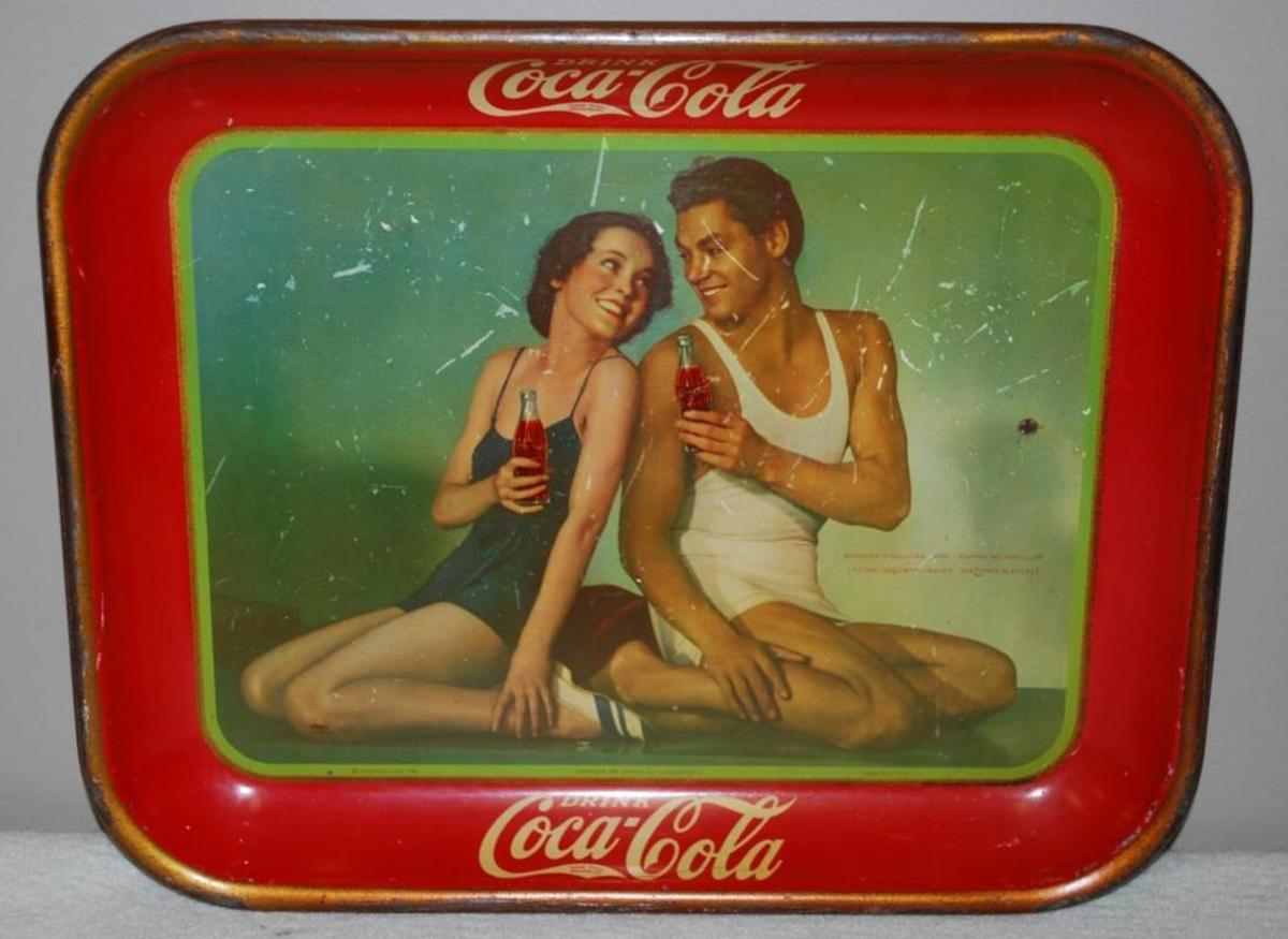 1934 Coca Cola Metal Tray with Brunette Man and Woman both in Swimming Suits
