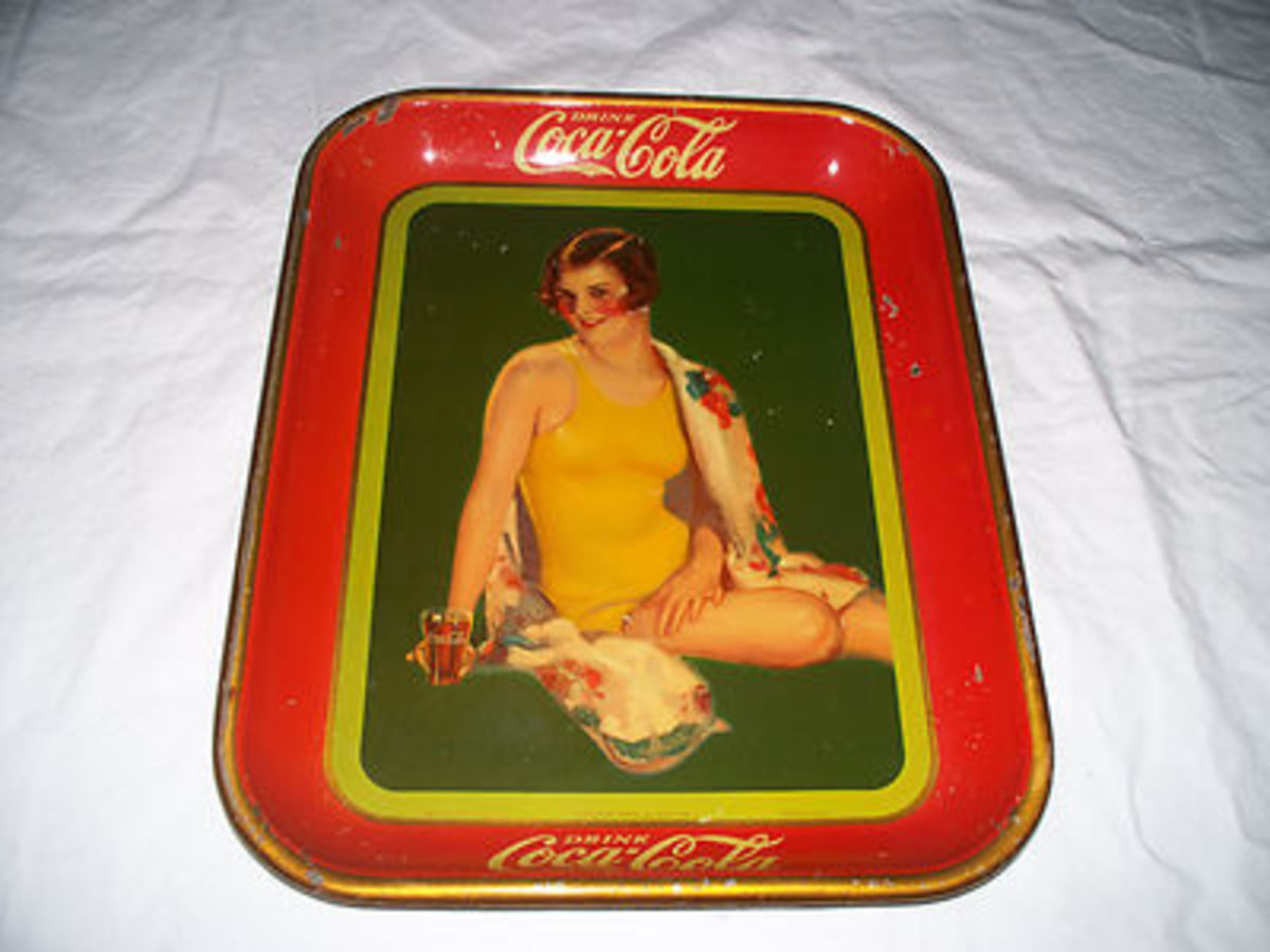 1929 Coca Cola MetalTray with Brunette in One Piece Swimming Suit