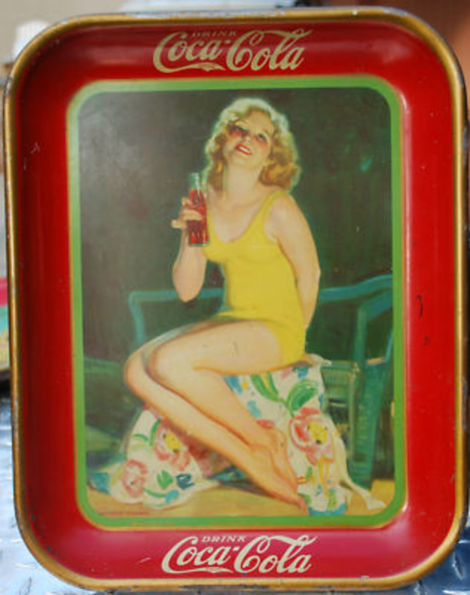 Vintage Coca Cola Metal Trays - Advertising Specialties Celebrating the Sport of Swimming
