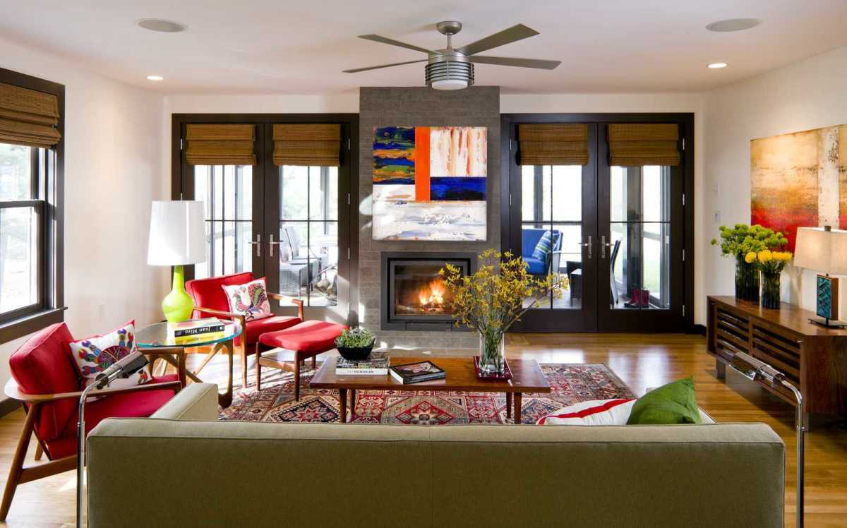 A Gemini living room should feel modern and have multiple colors commanding the room.