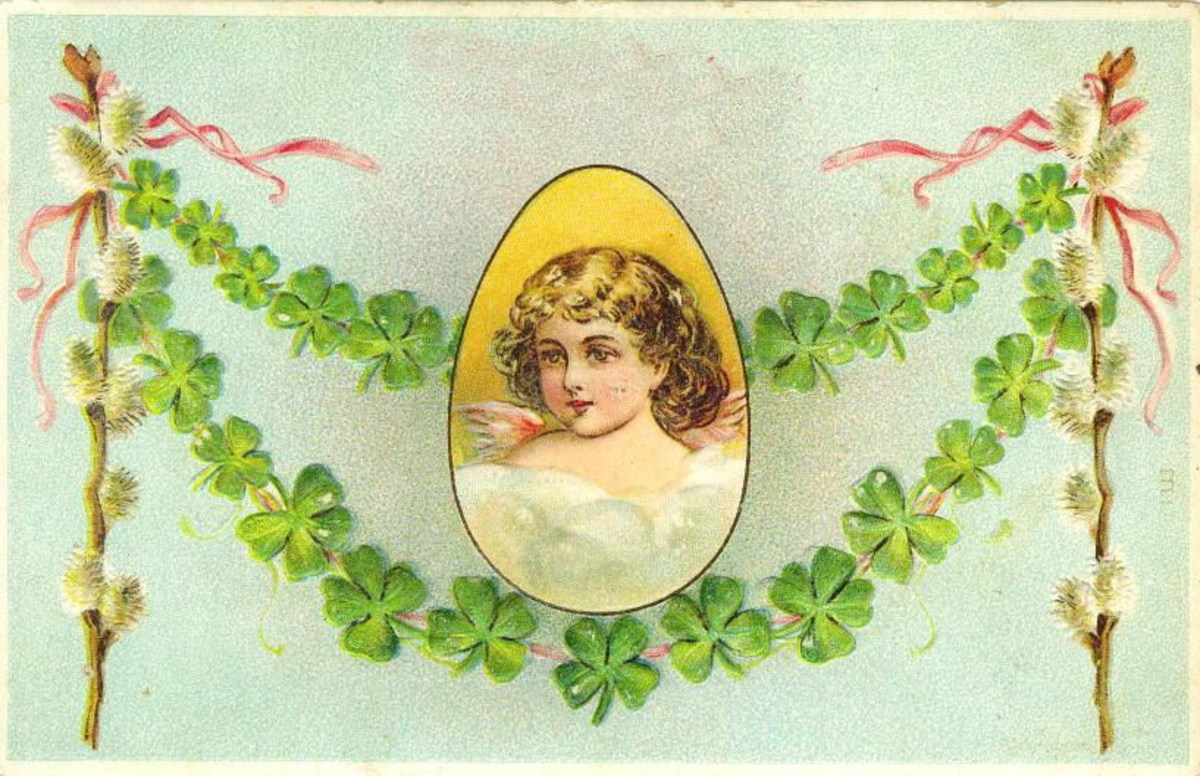 Vintage pretty woman portrait surrounded by garlands of green shamrocks