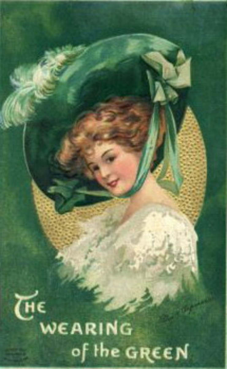 Vintage St. Patrick's Day greeting card: Victorian woman dressed in white gown and green hat