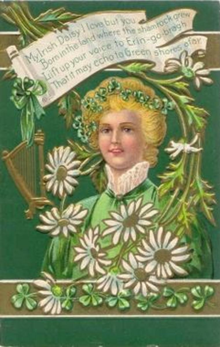 Vintage St. Patrick's Day card: Pretty woman dressed in green, surrounded white daisies