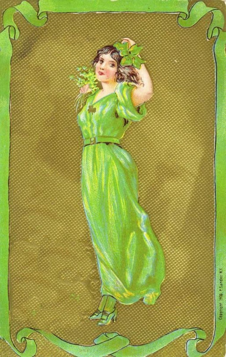 Vintage St. Patrick's Day greeting cards: Mid-20th Century woman dressed in bright green on gold background