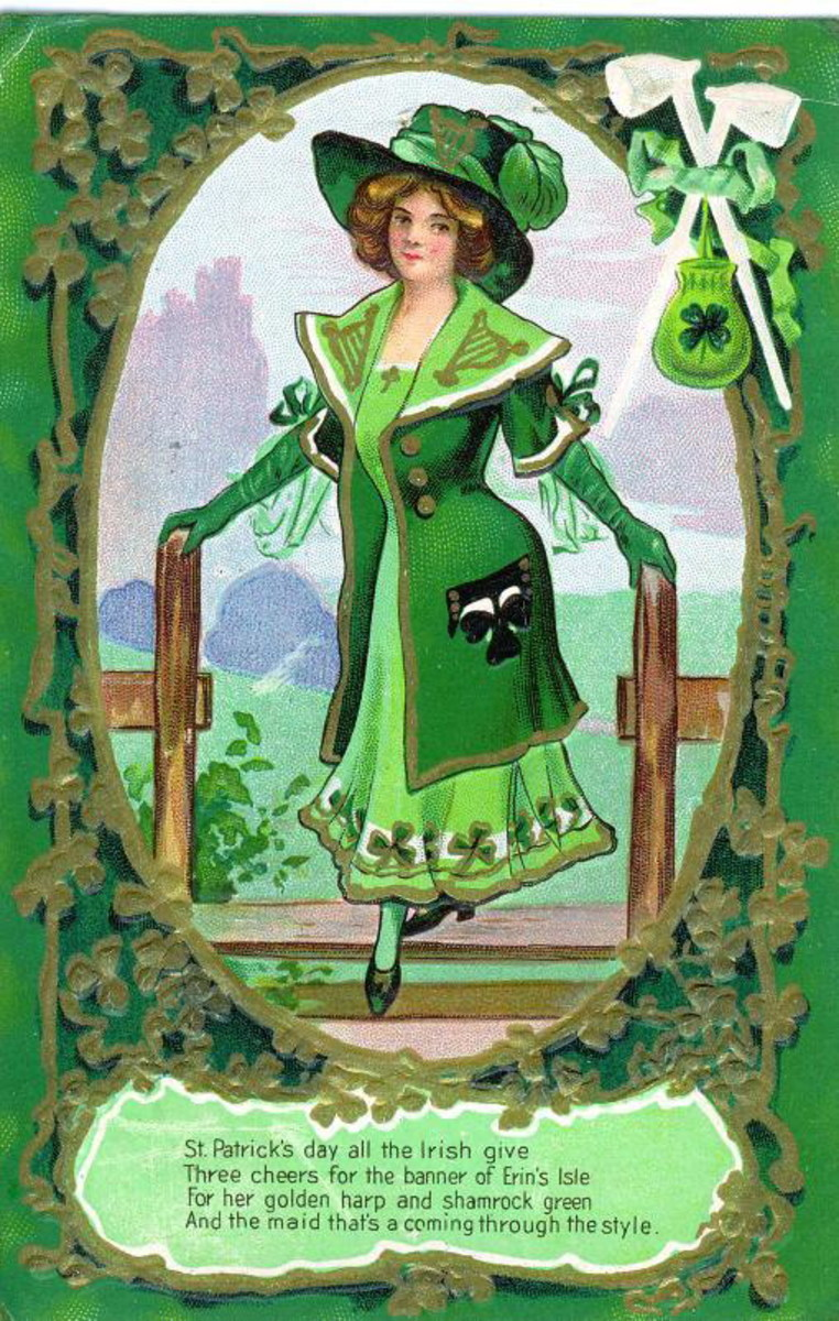 Vintage greeting card: Victorian woman dressed in green for St. Patrick's Day