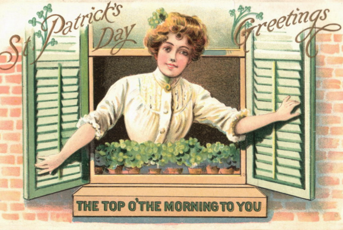 "St. Patrick's Day card: Pretty woman dressed in white looking out a window ""Top of the morning to you."""