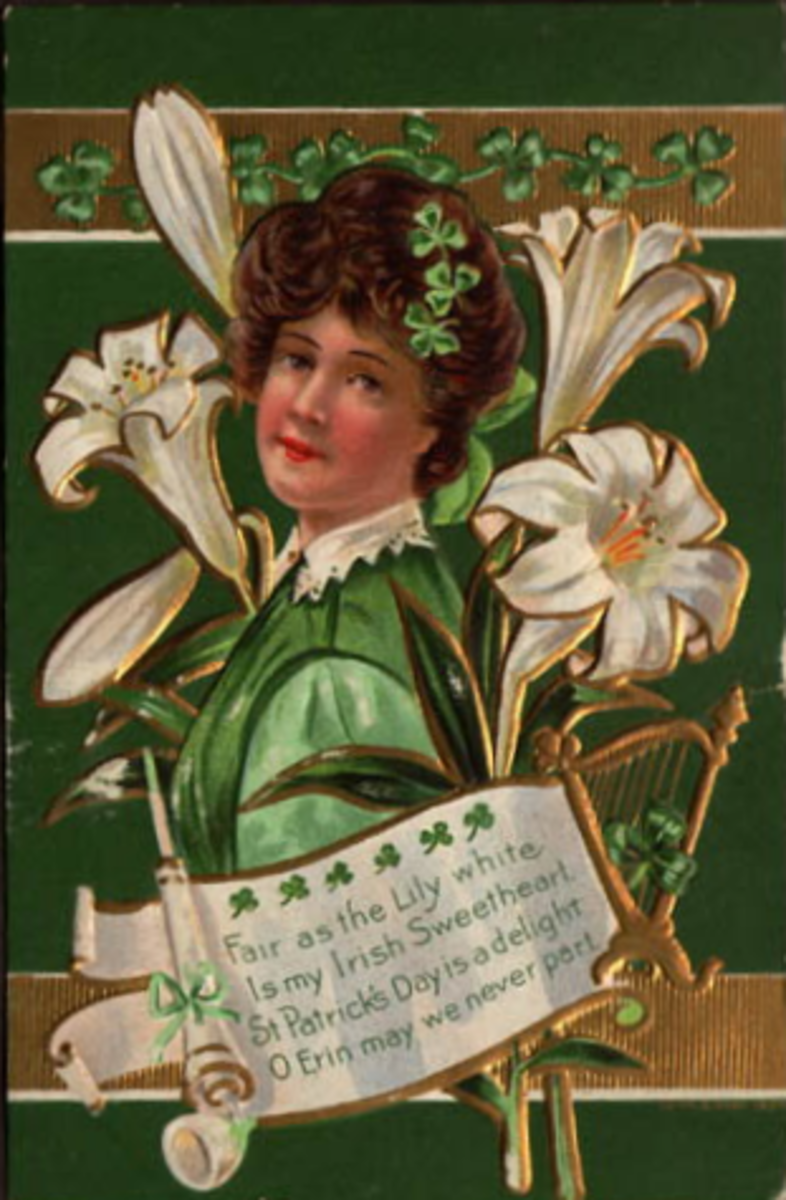 Vintage greeting card: Pretty woman dressed in green and  Easter lilies