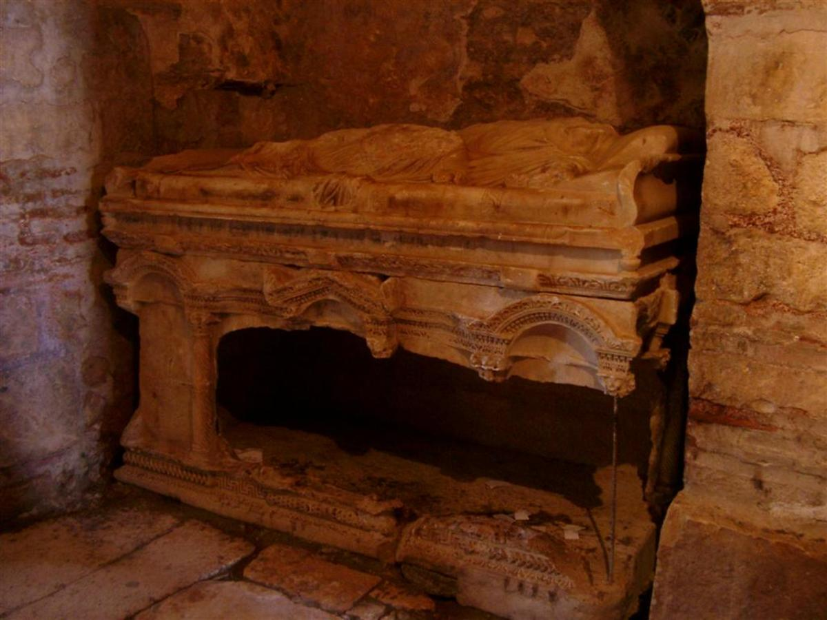 St. Nicholas' bones were kept in this sarcophagus in the St. Nicholas Church in Demre until they were removed and taken to Bari in 1087.