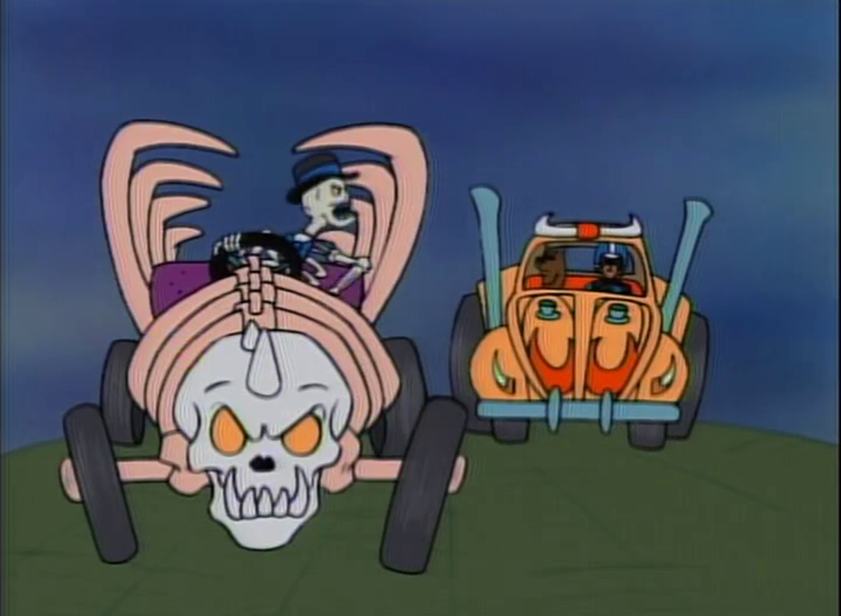 Scooby and Shaggy racing against Mr. BoneJangles