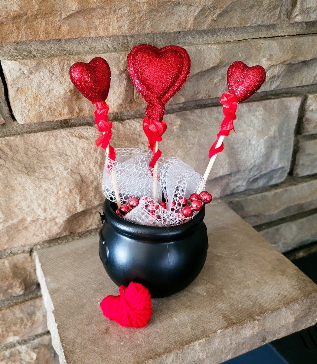 This love potion display is a cheap and fun piece of flair you can create easily as part of your Valentine's Day decor.