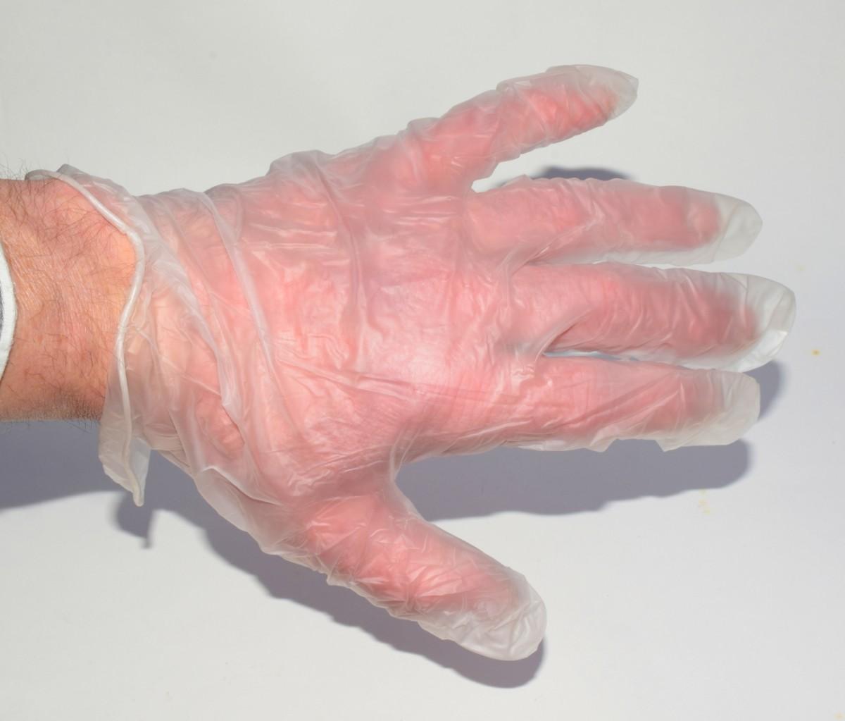 Disposable PVC glove.