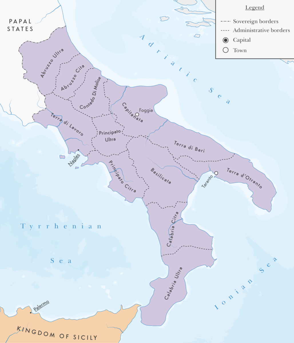 The Kingdom of Naples with administrative divisions as they were in 1454