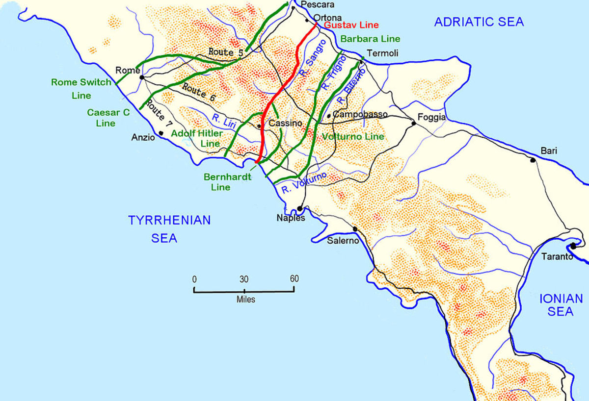 Italian defence lines including the Gustav Line 1943/4