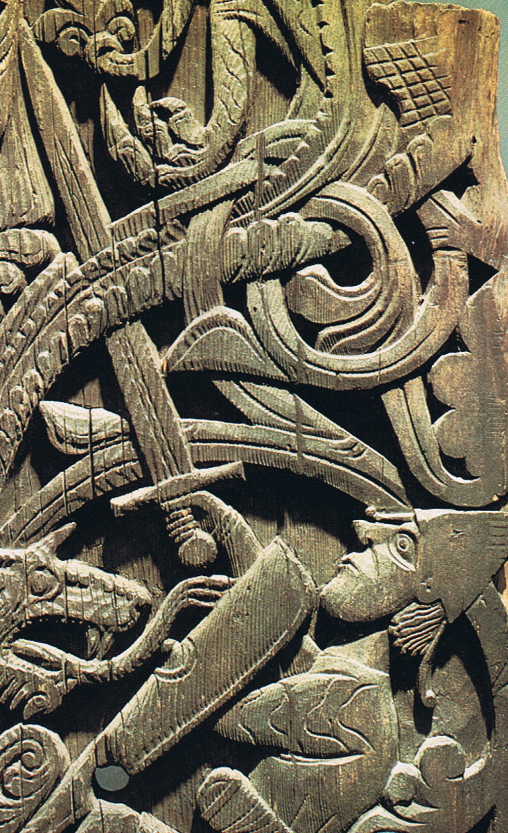 In this wood carving - 'Ragnaroek' - a warrior takes on Jormungand (the World Serpent) in a legendary knot