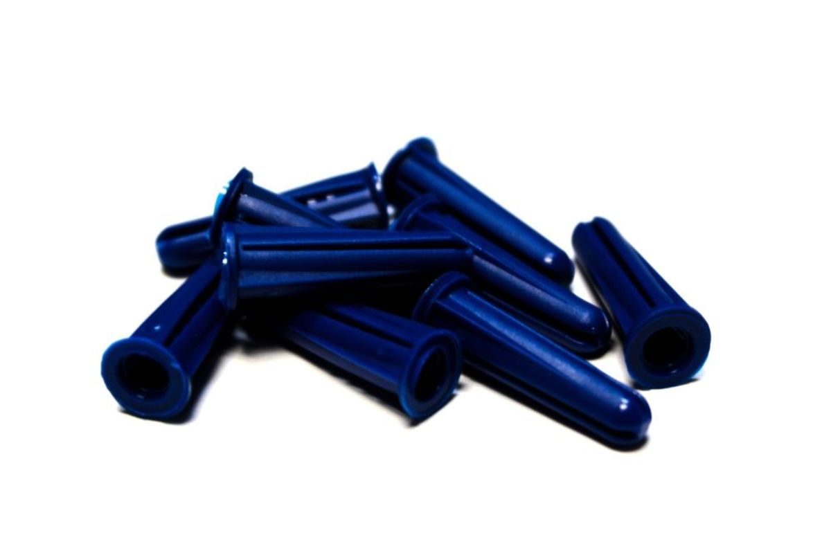 Blue plastic wall anchors
