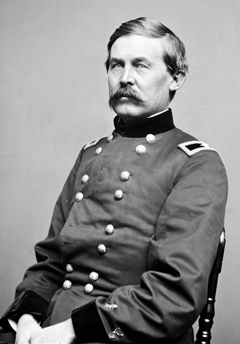 Union cavalry general John Buford who with his 2,500 dismounted cavalry disrupted Lee's plan to take the high ground around Gettysburg. All of Buford's soldiers were armed with repeating rifles (Spencer Carbine).
