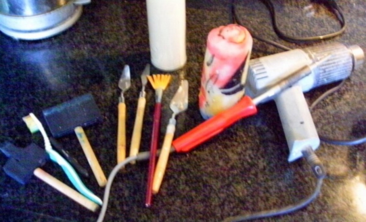 Various tools: Sponges, practice candles, a solder gun for detail work -- if you prefer and when working with  candles I use the heat gun to heat the wax in the muffin tins to speed up the melting process.