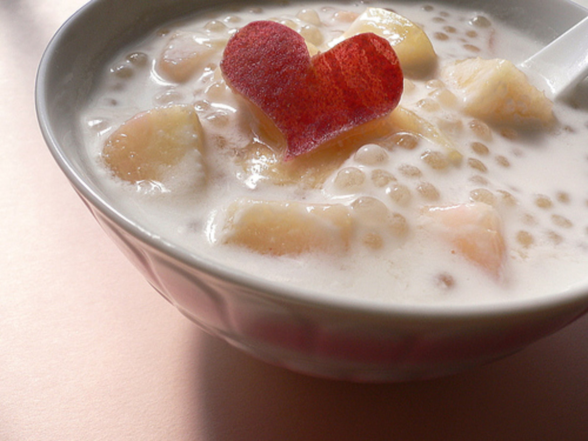 Tapioca coconut milk with peach.  http://www.flickr.com/photos/yomi955/959612933/ under Creative Commons Attribution License