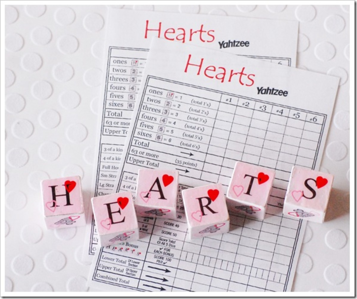 The Idea Room is where you can find out how to make your very own Heart Yahtzee game.