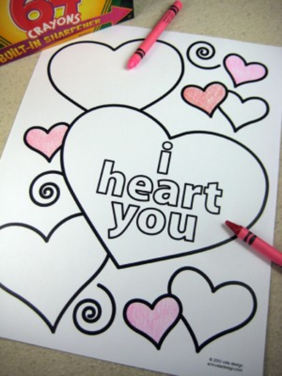 Free coloring sheets you will want to print out for a sweet February holiday.   You can find them at Erin Vale Design.