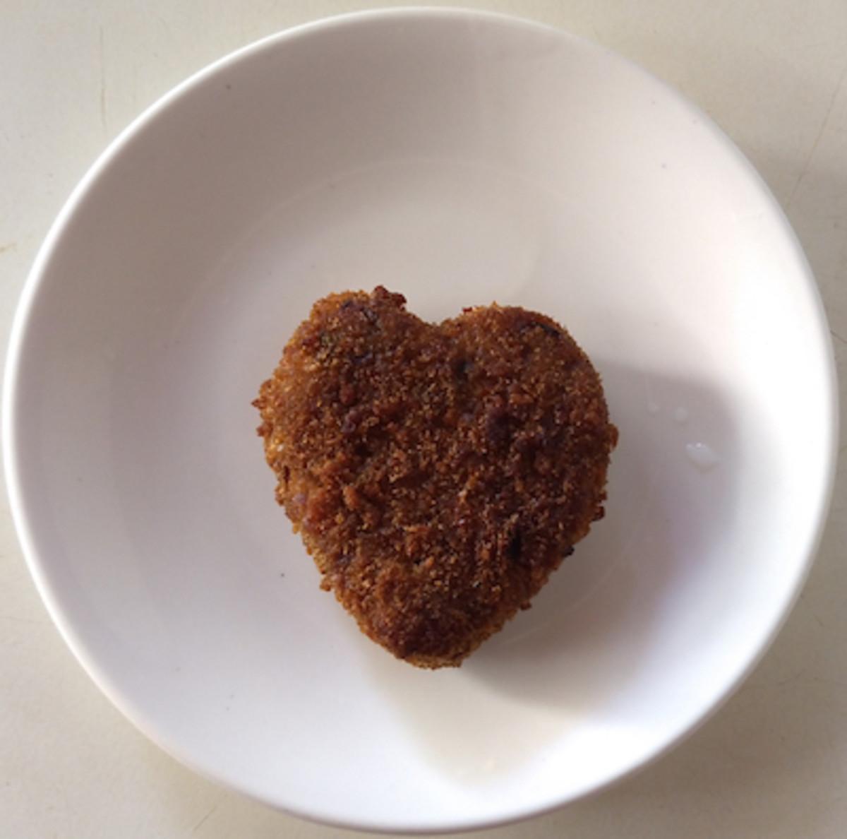 Heart-shaped mini meatloaf