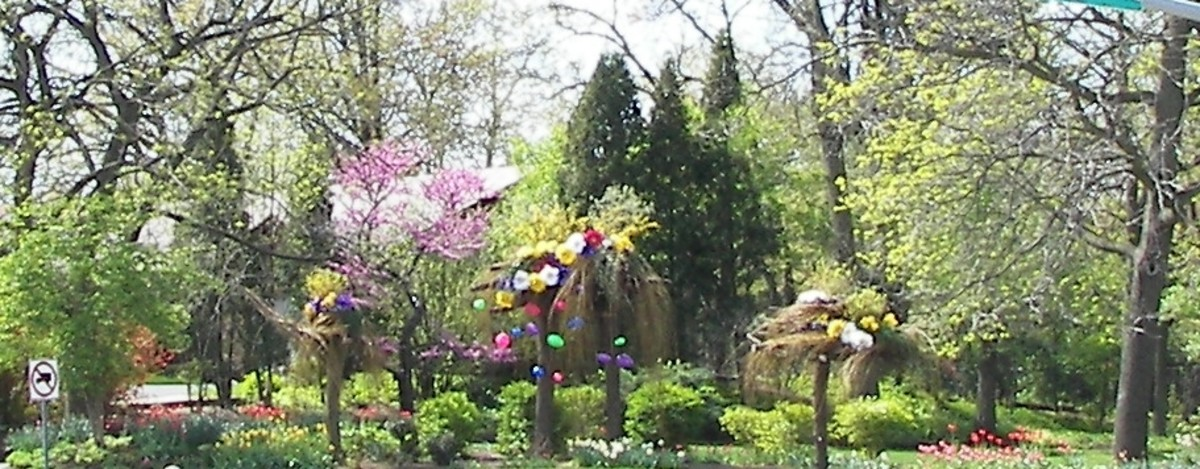 Colorful Easter decorations adorn a suburban corner in Rockford, Illinois