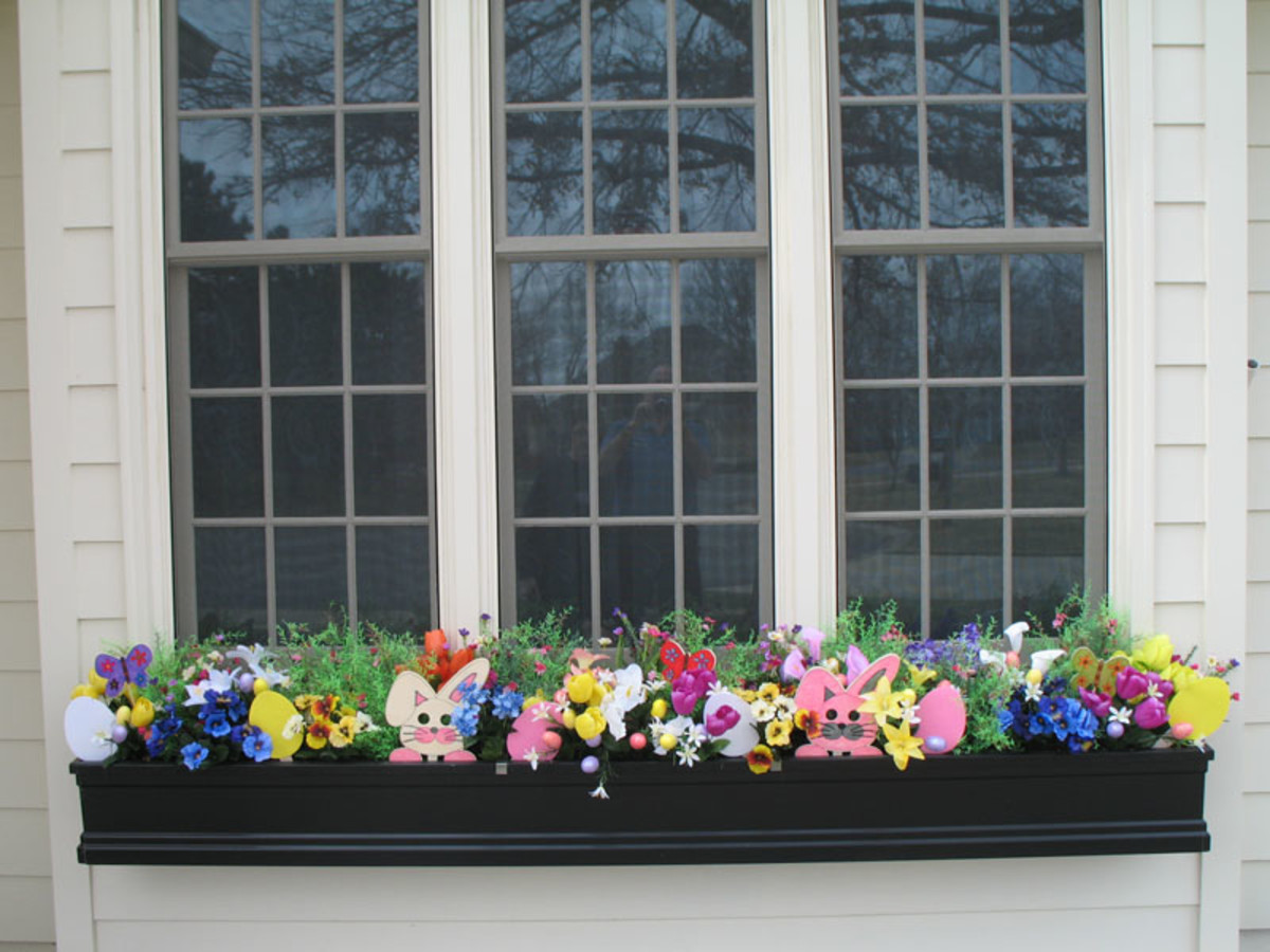 Bright Easter Decorations in a Window Box