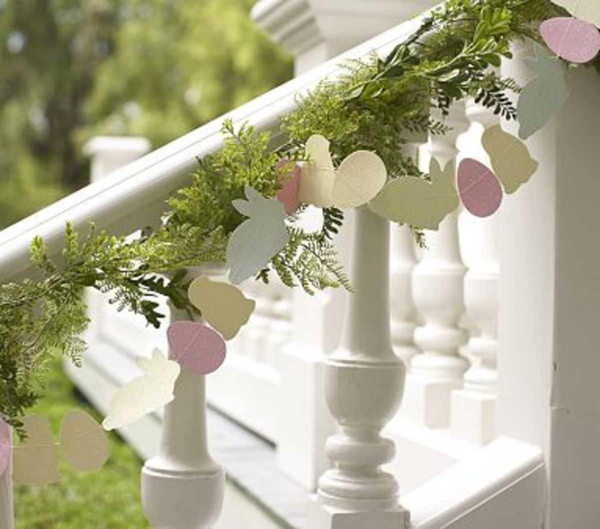 Easter Garland on an Exterior Railing