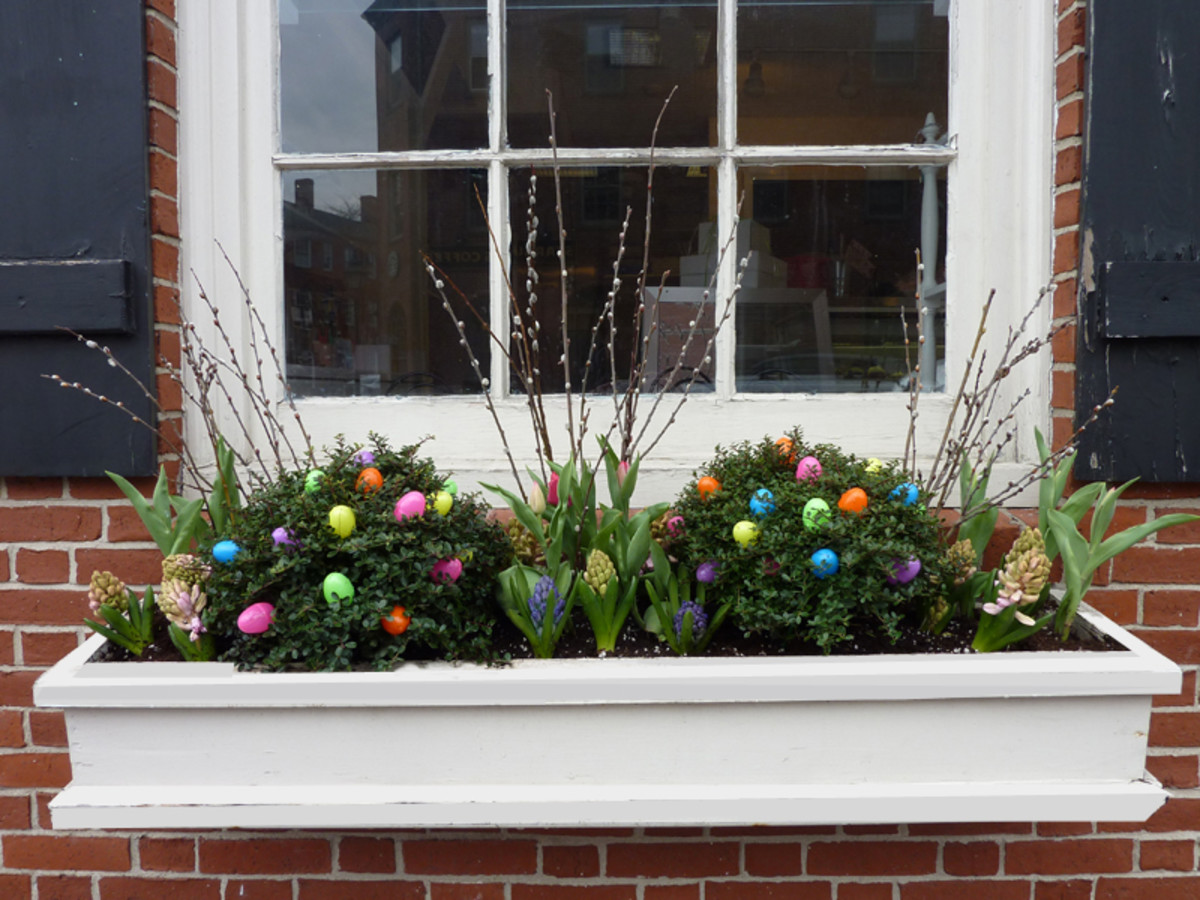 Easter Decorations in a Window Box