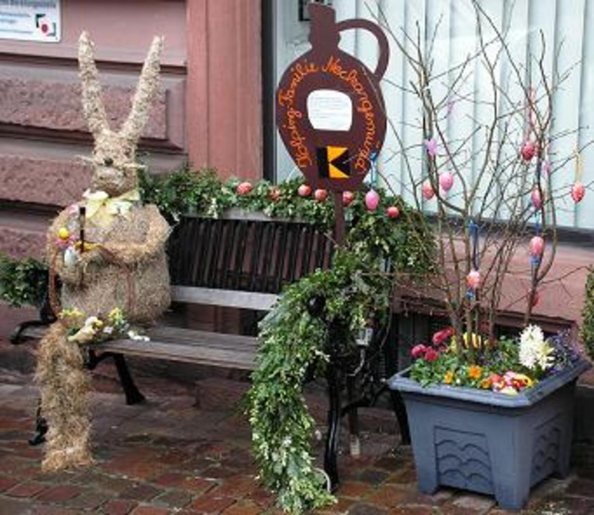 Fun Exterior Easter Decorations with Easter bunny
