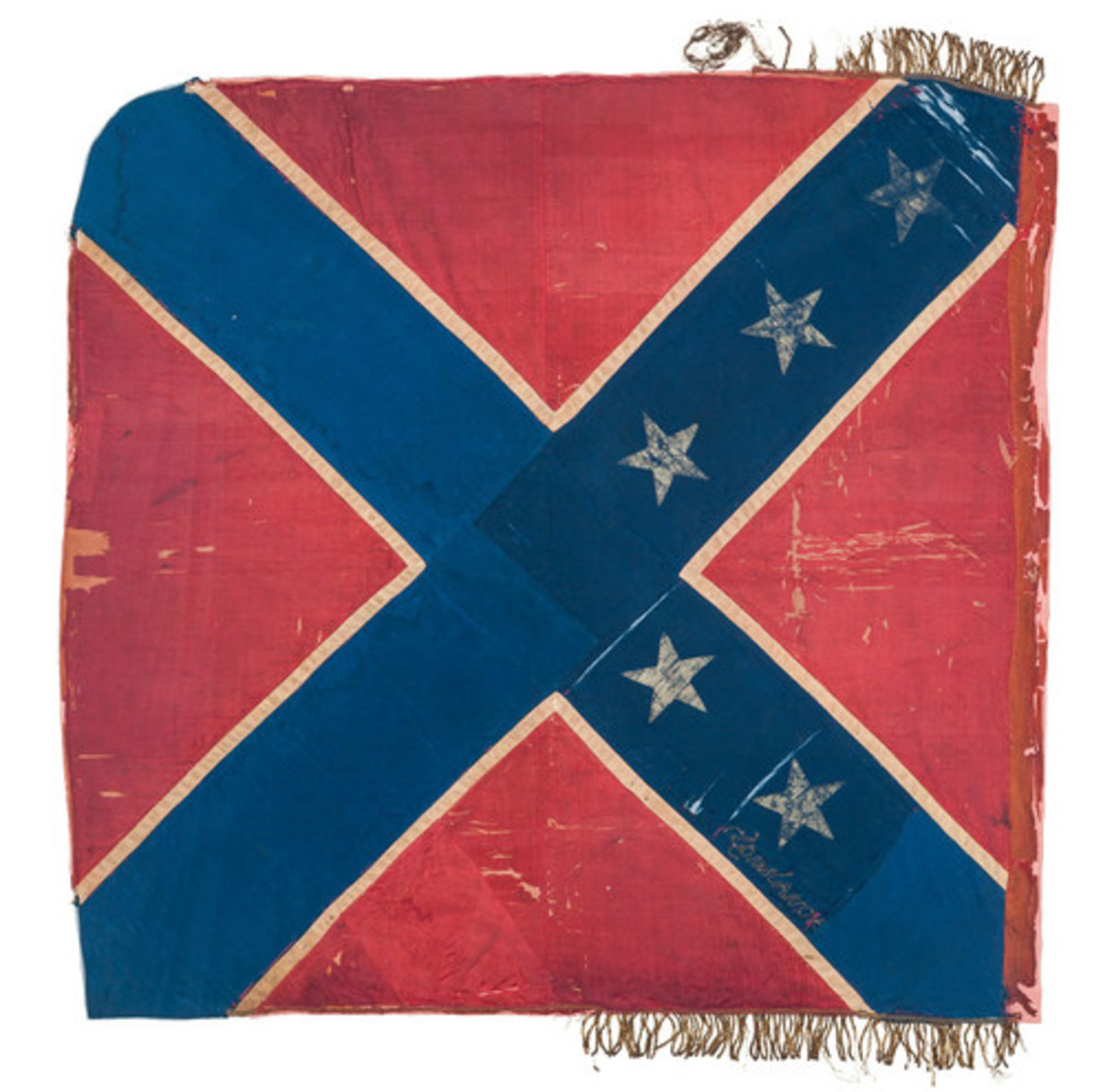 Confederate Flag sewn by Constance Cary in 1861 at the request of a Confederate congressional committee. Little did she know that one day this symbol would be reviled and considered racist patronage by a united nation.
