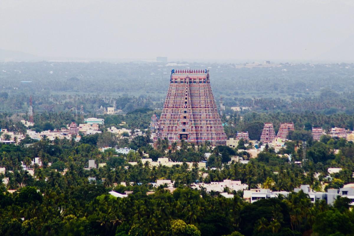 A long view of Srirangam Temple