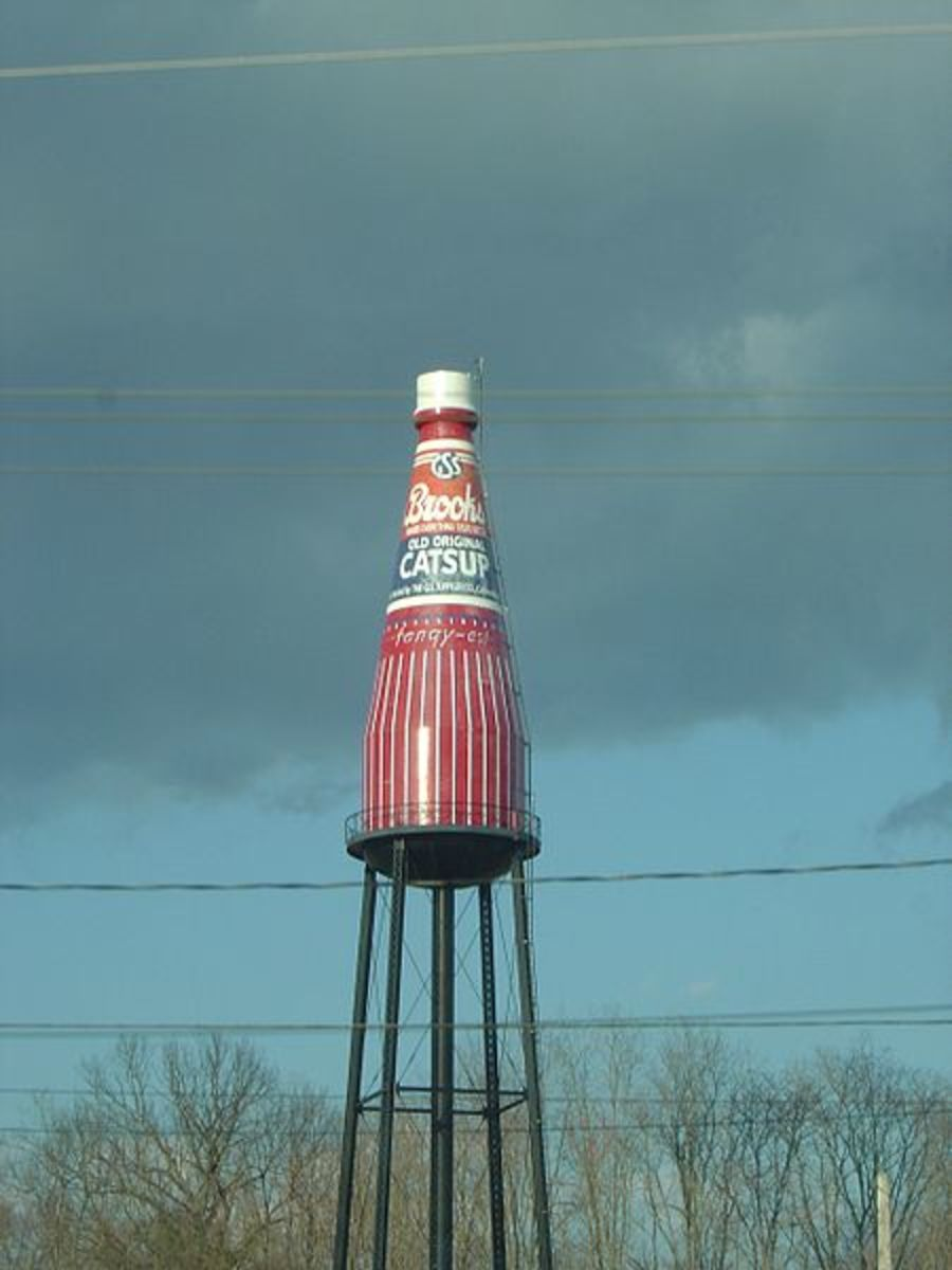 The World's largest Catsup bottle, a water tower located in Collinsville, Illinois
