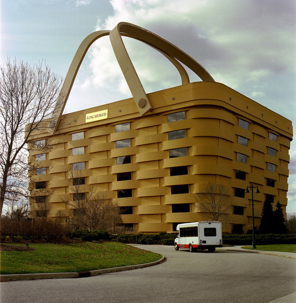 Basket shaped building is actually the offices for Longaberger Basket Company, located in Newark, Ohio