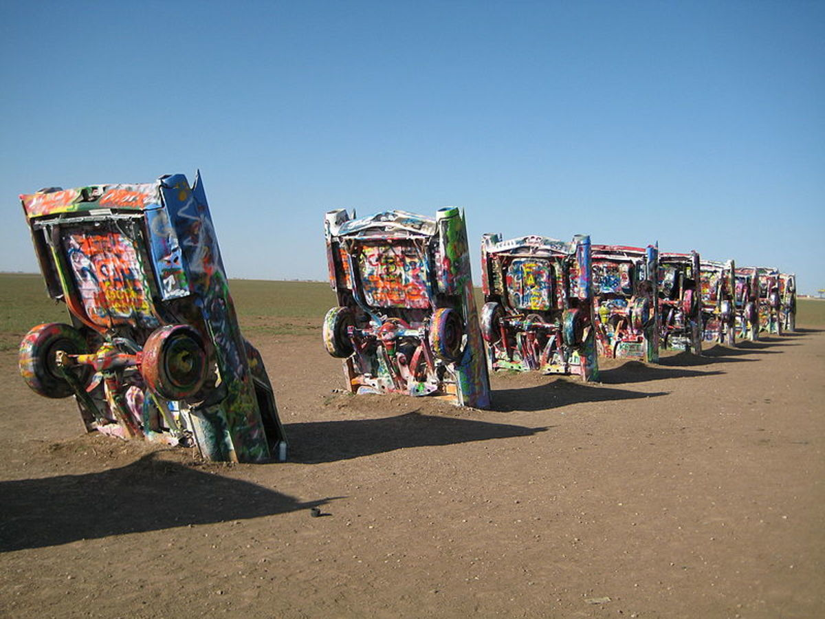 Cadillac ranch located outside of Amarillo, Texas