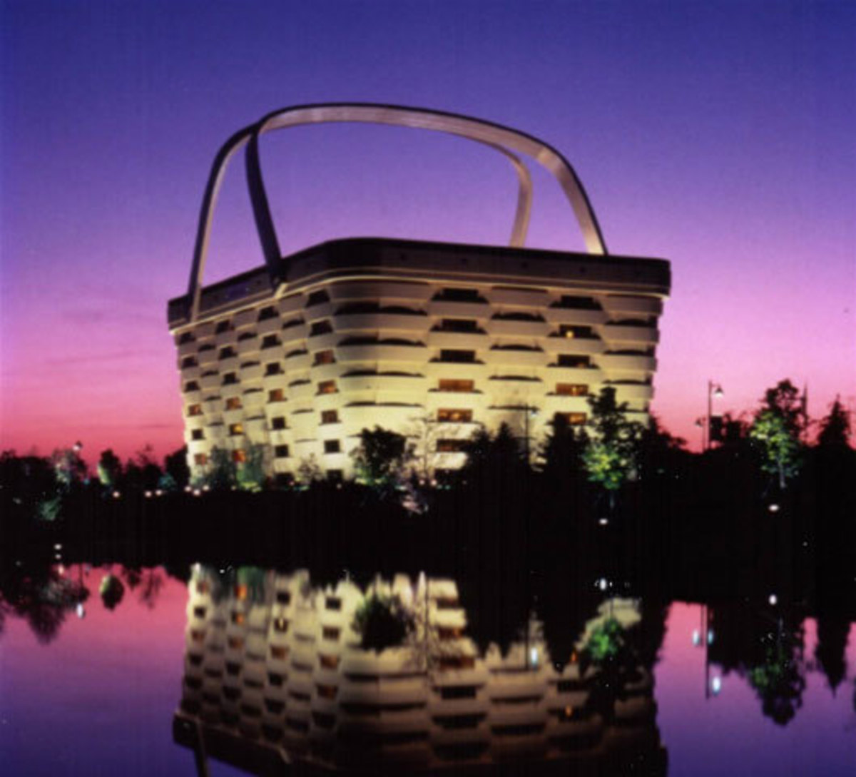 The Longaberger office building, especially pretty at night.