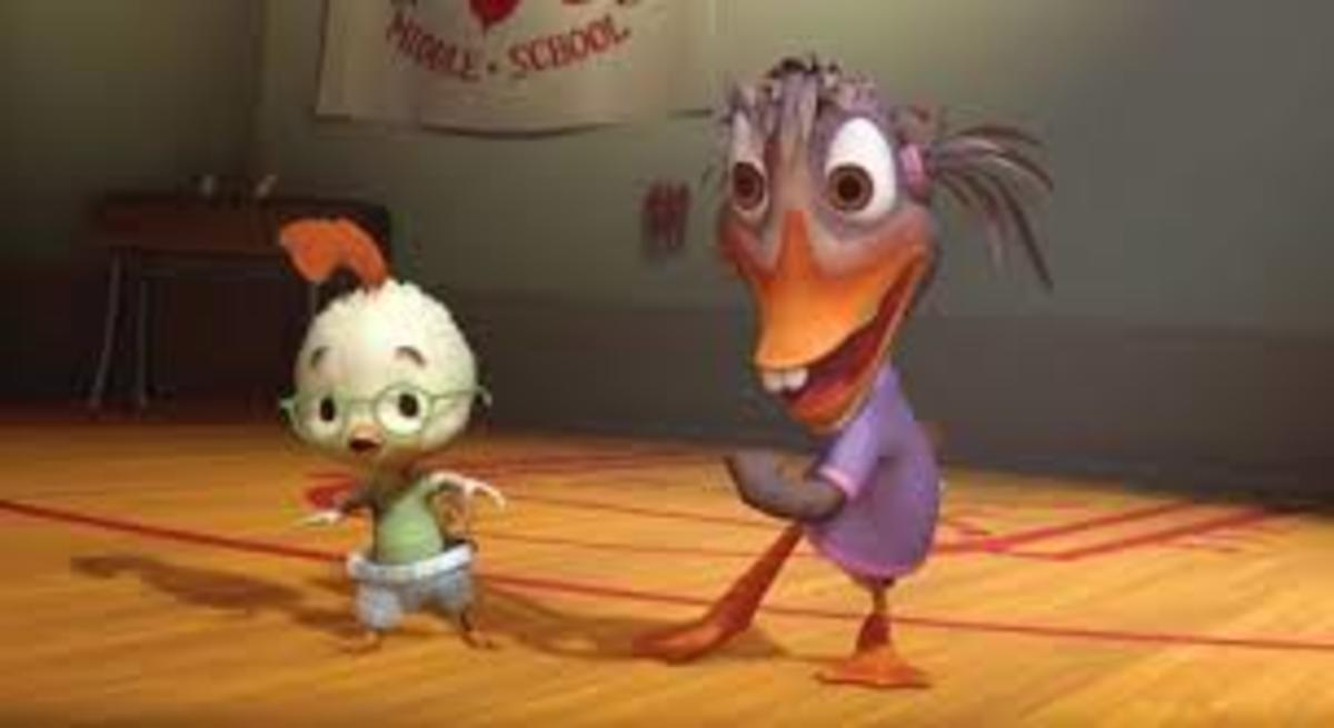 Chicken Little and Abby playing dodgeball