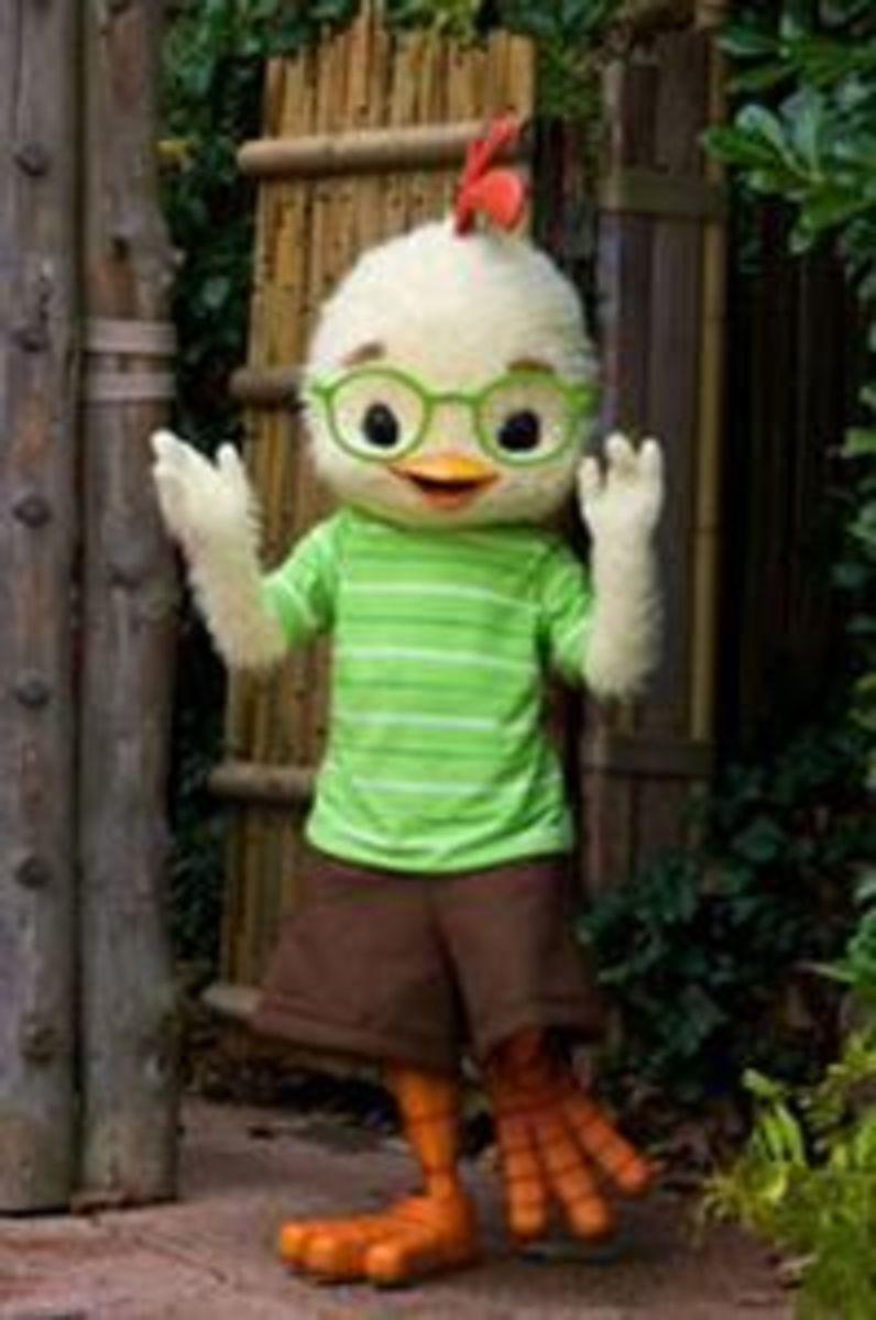 Chicken Little mascot greeting fans at Disneyland