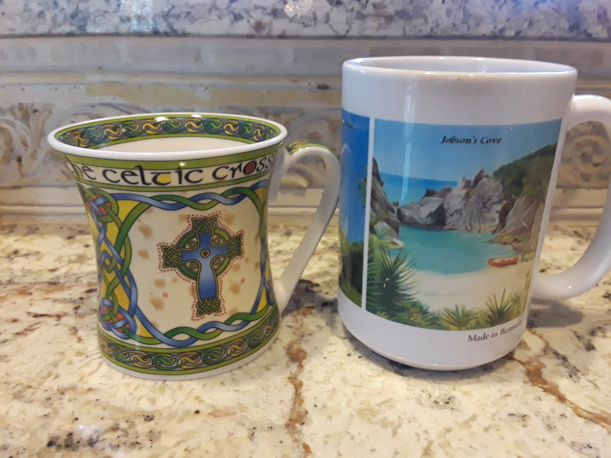 These 2 mugs are from our travels to Ireland (left) and Bermuda (right) and bring back great memories, so they made perfect souvenirs.