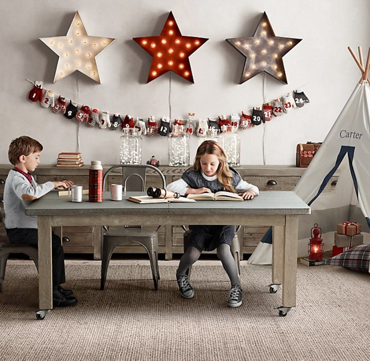 Kids table, bookcase or console and metal chairs.
