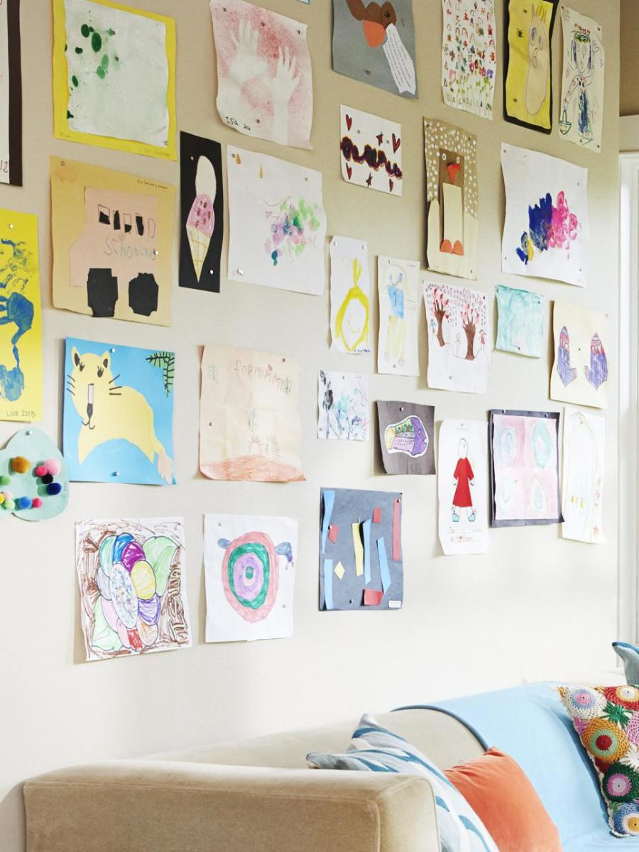 The wall behind the sofa is magnetic kid arts paint coated with a latex layer  over it.