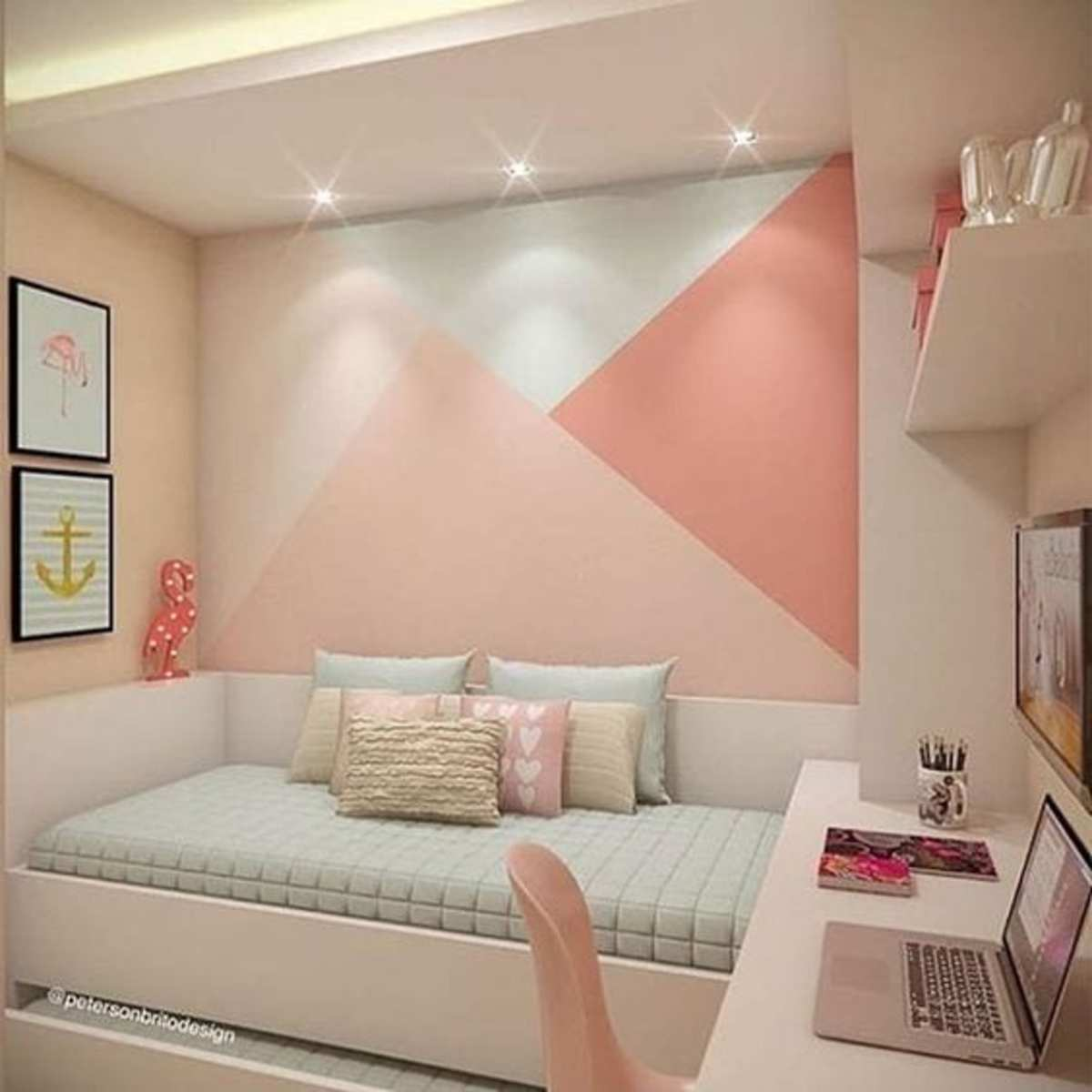 The contemporary interior teen bedroom in a simple and beautiful style.
