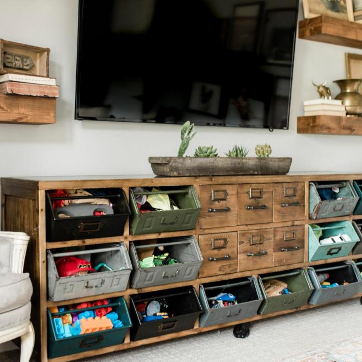 An vintage toys made with distressed wooden and metal bins.